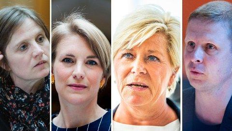 HELT UAKTUELT: For Frp og Siv Jensen (3. fra venstre) er det helt uaktuelt å avvikle taxfree-salget, slik Erik Lunde (KRF) og Kari Elisabeth Kaski (SV) ønsker. Rundspørringen til Nettavisen viser at det er det heller ikke støtte det hos Kjersti Toppes Sp.