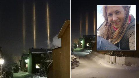 SJELDENT: Slike lyssøyler oppstår sjeldent. Torsdag kveld tok Elisabeth Lilleby disse bildene på Tonstad.