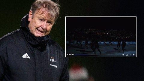 MØRKT: Ser du RBK-spillerne i mørket? Nå får de kjeft for manglende bruk av refleksvest på joggetur. Foto: Trond Reidar Teigen / NTB / Skjermdump https://www.facebook.com/watch/rosenborg/