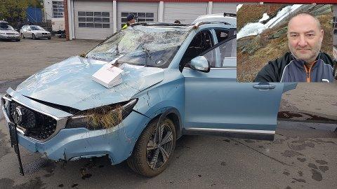 Slik så 53-åringens bil ut etter det som trolig har vært en vill ferd.