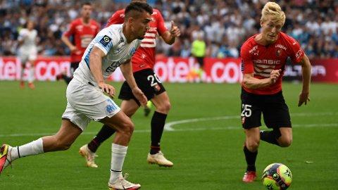 GOD: Birger Meling, her i oppgjøret mot Marseille, spilte en ny god kamp for Rennes mot Paris Saint-Germain. Foto: CHRISTOPHE SIMON
