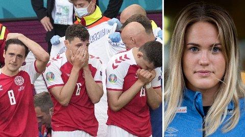 RYSTENDE: De danske spillerne var i sjokk etter at Christian Erksen segnet om i EM. Malin Aune (til høyre) sier hendelsen har fått ringvirkninger. Foto: Montasje (NTB)