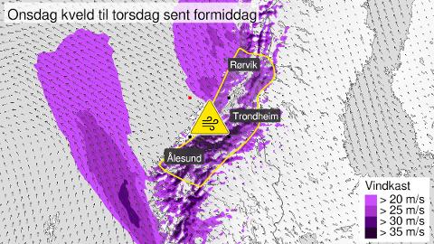 Slik ser været ut for Trøndelag kommende døgn. Illustrasjon: Yr.no
