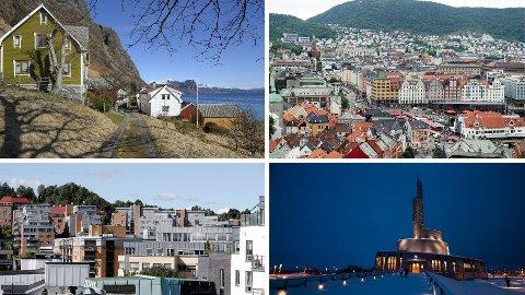 STORE FORSKJELLER: Bor du på et sted i utkant-Norge, som i bildet øverst til venstre, ligger du trolig tynt an når det gjelder gode lånebetingelser. I større tettsteder som Sandvika (nederst t.v.) og Bergen (øverst t.h.) er boligrenten langt lavere. I mindre byer som Alta (nederst t.h.) er heller ikke renten spesielt høy.  Foto: NTB/montasje