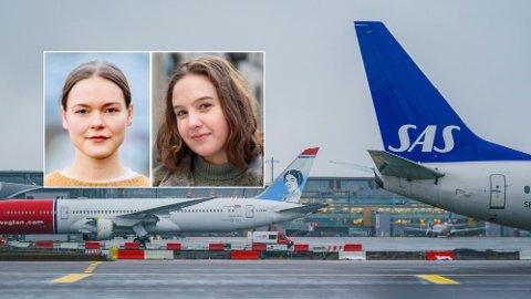 FLYKVOTER: MDG-politikerne Ulrikke Torgersen og Nora Selnæs foreslår kraftige innstramninger for fly i Norge. Foto: NTB