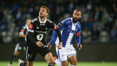 NÆR RBK-AVTALE: Guillermo Molins (til høyre), her fotografert som Sarpsborg 08-spiller i fjor høst, kan bli lagkamerat med Hólmar Örn Eyjólfsson i Rosenborg. Foto: Christoffer Andersen (NTB)
