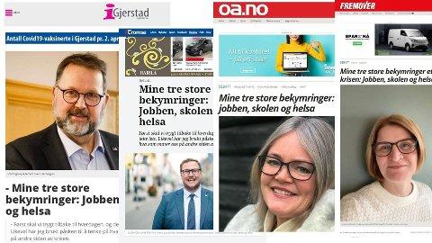 Faksimiler: Fire Høyre-representanter fikk det samme, identiske, leserinnlegget på trykk i hver sin lokalavis. Foto: Faksimilie/montasje: iGjerstad, iTromsø, Oppland Arbeiderblad, Fremover / Nettavisen