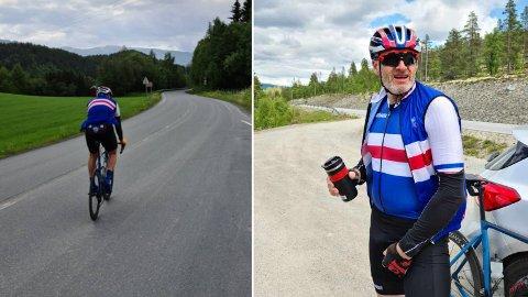 PÅ TUR: Denne helga skal Geir Møllegaard fullføre over 1000 kilometer på sykkelsetet.