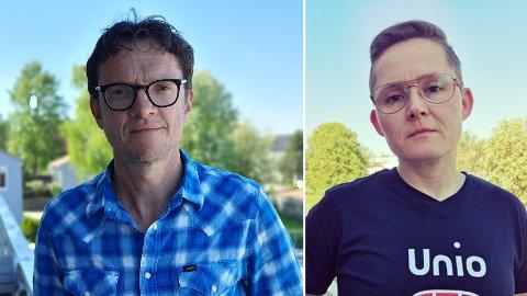 I STREIK: Lærer Ståle Tømmerås og helsesykepleier Tonje Lervold er blant de 2205 kommuneansatte som nå er tatt ut i streik.