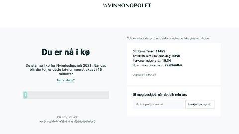 Onsdag morgen- og formdidag var det lang ventetid for å få tilgang til Vinmonopolets nettsider. Foto: Skjermdump