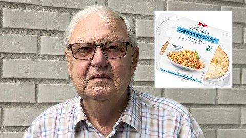 SKUFFET: Per Sørensen er veldig glad i krabbe, men oppdaget en merkelig smak i krabbe i skjell fra Hitra. Foto: Marlin Solbakken og Hitramat