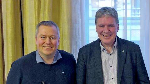 Geir Adelsten Iversen, stortingsrepresentant / næringskomiteen (Sp) og Ronald Wærnes, ordfører i Båtsfjord (Sp)