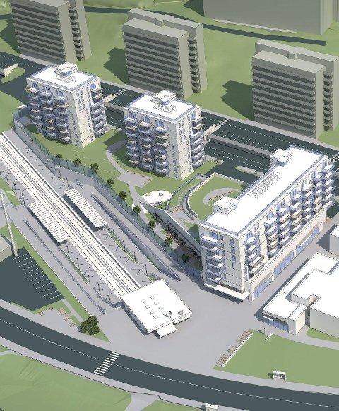 TRE BLOKKER: Ny bebyggelse i hvitt, eksisterende  blokker i grått. Boligene skal bygges på et grønt lokk over p-plasser og ny næring.