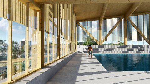 NYTT BAD: Det planlegges tre bassenger, stupetårn, vannsklie, boblebad og badstue. Alle skisser: Undervisningsbygg/Asplan Viak