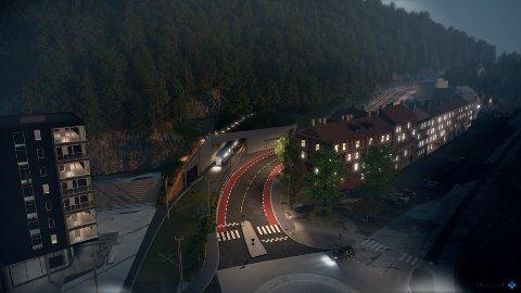 TUNNEL I KONGSVEIEN: Hvis byrådet får det som de vil, kan Ekebergbanen gå inn i tunnel nederst i Kongsveien og ut i dagen igjen ved en ny Ekebergparken holdeplass. Illustrasjon: Bymiljøetaten
