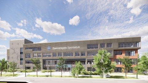 FASADEN: Her er den nyeste skissen av hvordan BSK Arena kommer til å se ut når det står ferdig på sensommeren 2023.