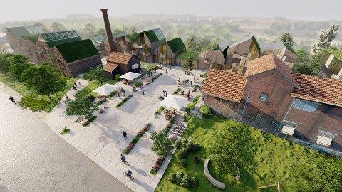 FORSLAG: SPG vil bevare mye av det gamle på eterfabrikken, men også bygge cirka 80 nye boliger, et offentlig torg og tilbud til nærmiljøet i de bevaringsverdige murhusene.