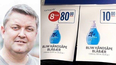 FRAMSTÅR SOM TILBUD: Rema 1000 hengte nylig opp denne plakaten i en av sine butikker, hvor 8 for 80 framstår som et godt kjøp. Rune Nikolaisen reagerer. Foto: Marie Dahle/Privat