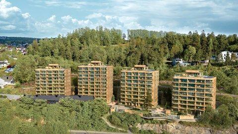 HØYBLOKKER: Fire høyblokker skal bygges i skråningen nedenfor Nordre Skøyen hovedgård. Illustrasjon: Birk & Co