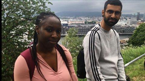 Victoria og Yousif ble utsatt for rasisme på vei ned fra Ekebergplatået. Foto: Kjetil Bortelid Mæland (Nettavisen)