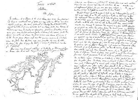 Dette er en kopi av det håndskrevne brevet med reisebeskrivelsen og kart over turen i 1872.