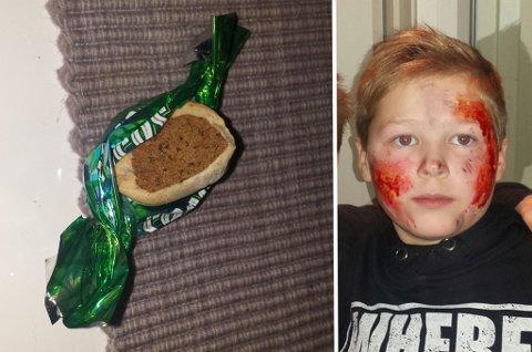 HUNDEMAT: Noen av de som delte ut godterier i Hamna på fredag hadde byttet ut sjokoladebitene med hundemat. Foto: Privat