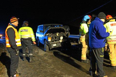 ULYKKE: To biler er involvert i en ulykke på Ersfjordeidet i Tromsø søndag kveld. Foto: Inger Præsteng Thuen