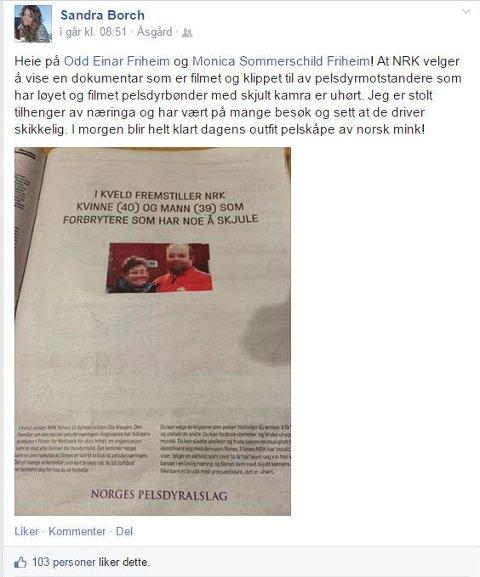 """KRITISERER NRK: På Facebook gikk Sandra Borch ut med både kritikk til NRK for å vise dokumentaren """"Pels"""" og støtte til pelsdyrnæringen. Dette skrev hun før dokumentaren hadde blitt vist."""