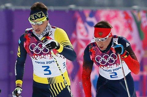 Aleksej Poltoranin (t.v.) og Aleksandr Legkov er to av konkurrentene til Andreas Nygaard når langløpscupen starter i Italia denne helga.