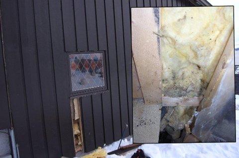 MUSELORT: Slik så det ut innenfor panelfjølene på ytterveggen. Foto: Privat.