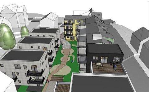 SETT FRA SØR: Slik vil det bli hvis utbyggerne får gjennomføre sine byggeplaner. Illustrasjon: Sara Lund