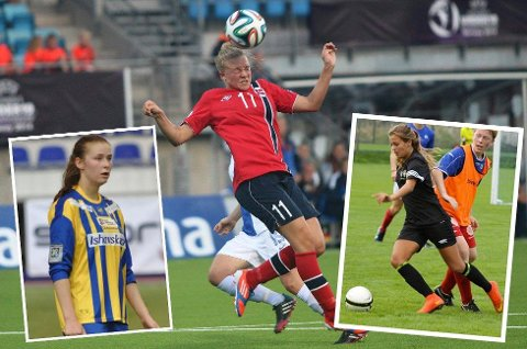 Marie Dølvik Markussen (midten), Tonje Pedersen (til venstre) og Gabrillie Lemos Lie er blant landsdelens mest spennende spillere.
