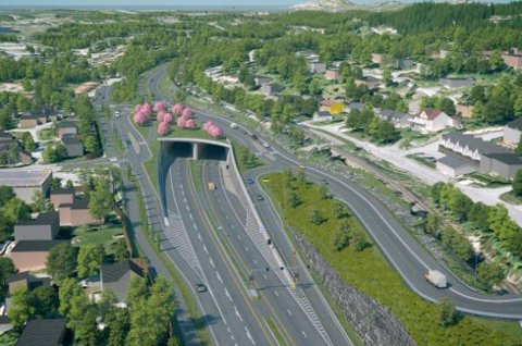 I TUNNEL: Avtalen som ble inngått torsdag er et største enkeltprosjektet i Bypakke Bodø. Tunnelen skal starte der lyskrysset ligger i dag.