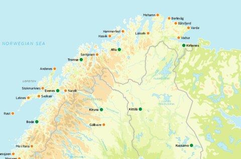 kart over honningsvåg Nordlys   Her gikk det litt fort i svingene for SAS kart over honningsvåg
