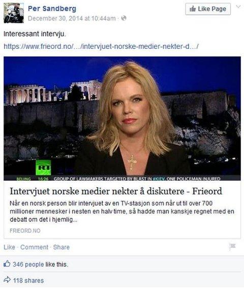 Skjermdump av Facebook-delingen til Sandberg.