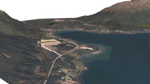 SKISSE: Her er en tidlig illustrasjons av hvordan E8-trasé på østsiden av Ramfjord, kan bli seende ut.