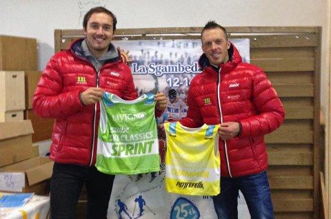 Andreas Nygaard (t.v.) måtte søndag gi fra seg den grønne spurttrøya i langløpscupen Ski Classics igjen, men noterte seg for sin beste plassering i mål denne sesongen. Lagkamerat Anders Aukland (t.h.) beholdt den gule ledertrøya.