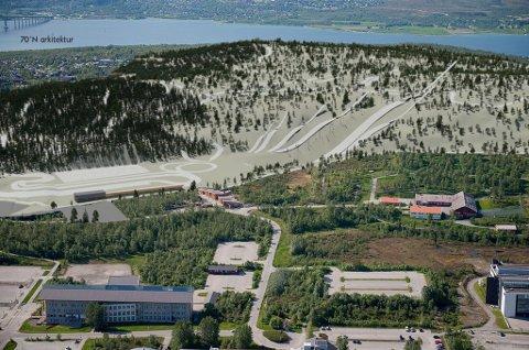 Slik så de opprinnelige skissene for Tromsø Skistadion Grønnåsen ut. Nå ser det ut til at løypenettet inne i skogen, og dermed også den planlagte rulleskitraseen, må skaleres ned.