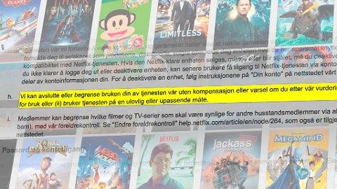 NY REGEL: Netflix kan avslutte abonnementet ditt hvis du bruker tjenesten «feil». Foto:  MONTASJE (NETFLIX/TEKNOFIL.NO)