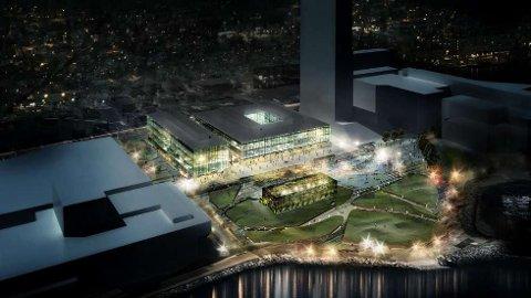 Slik planla Aker Solutions sitt nybygg i Tromsø. Nå ser det  mer mørkt ut.