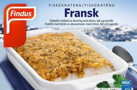 Findus kaller tilbake et begrenset parti med Fransk fiskegrateng, 400 gram. Det viser seg at fiskegratengen inneholder spor av melk, og dette er ikke opplyst på pakningen.  Foto: Findus / NTB scanpix
