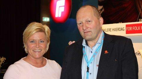 Arthur Tørfoss sammen med Siv Jensen på FRP-landsmøtet i april i år. FOTO: HANS MORTEN VARDØY/FRP
