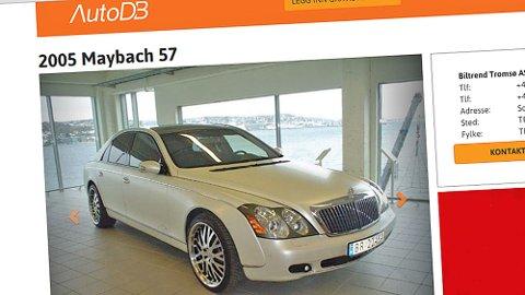 Nei, det er ikke alltid lett å selge bruktbil, selv om den både er sjelden og fullspekket av luksus. Det er denne bilen et godt bevis på. Faksimile fra www.autodb.no.