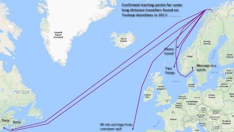 FUNN I TROMSØ: Bo Eide har lagd dette kartet, basert på noen av søppel-funnene i Tromsø, som viser søplas reise til yttersida.