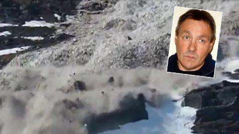 HER KOMMER DET: Alsing Petter Myrseth fra Birtavarre satt ute på verandaen med morrakaffen da han så, og hørte lyden av skredet.
