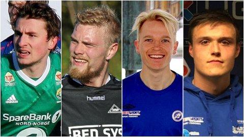 KANDIDATER: Jonathan Barlow (Finnsnes IL), Sondre Flaat (Skarp), Christer Johnsgård (FK Senja) og Sondre Laugsand (FK Senja) er blant kandidatene til å bli årets spiller fra Troms Fotballkrets i 3.-divisjon for menn.