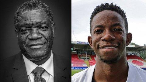 STOLT: Fredsprisvinner Denis Mukwege (t.h.) er onkelen til TIL-spiller Mushaga Bakenga. Han er mitt forbilde, sier TIL-spissen til Nordlys.