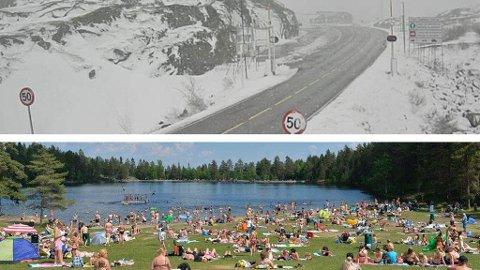 KONTRAST: Store kontraster i vær-Norge: Snø og vanskelige kjøreforhold over Bjørnfjell i Nordland (øverst) og varmerekord i Drammen søndag (under). (Statens vegvesen/Drammens Tidende)