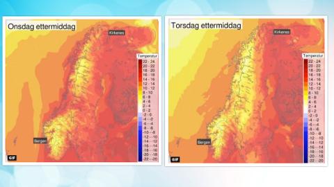 VARME HØSTDAGER: Værprognosene for de neste dagene forteller om høye temperaturer i store deler av landet. Foto: Faksimile (Meteorologisk institutt)
