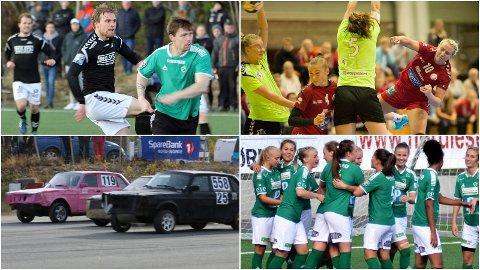 VARIERT MENY: Fløya mot Skarp (øverst til venstre), seriestart i håndball, bilcross fra Ramfjordmoen og 1.-divisjonskamp med Fløyas fotballdamer. Det er bare litt av helgens sportsmeny på Nordlys.no.
